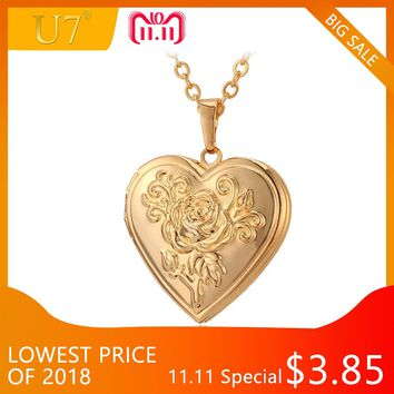 U7 Heart Locket Necklace Pendant Metal Brass Gold Photo Frame Memory Romantic Love Vintage Necklace Women Best Jewelry Gift P326