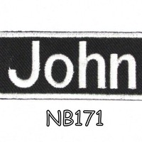 John White on Black Iron on Name Badge Patch for Biker Vest NB171