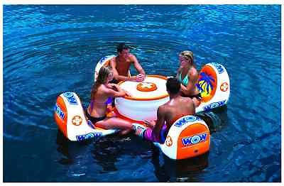 Giant Inflatable Pool Float Island Table Seat 4 Outdoor Toys Swimming  Lounger