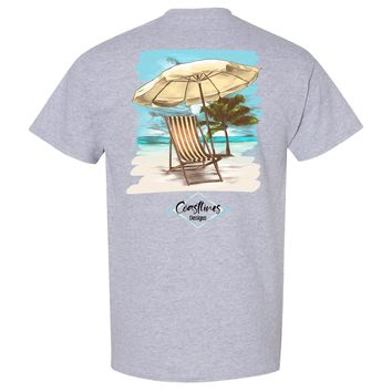 Coastlines Designs Beach Chair on a Beach Sports Grey T Shirt