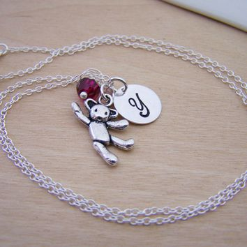 Teddy Bear Charm Swarovski Birthstone Initial Personalized Sterling Silver Necklace / Gift for Her