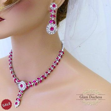 Fuchsia Pink Crystal Kundan Indian Bridal Jewelry Set
