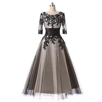 Three Quarter Sleeves Vintage Elegant Mid-long Coktail Dress 2017 Embroidery Robe de Cocktail Dress Special Occasion Gowns