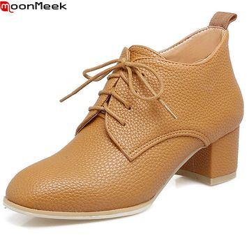 new arrive square toe lace up women shoes