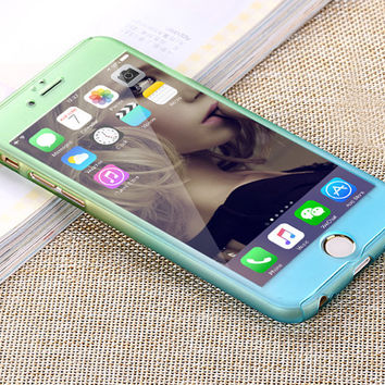 Luxury Hybrid Free Tempered Glass 360 Degrees Full Body Phone Case for iPhone 6 6S 6 6S Plus Gradient phone shell