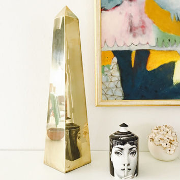 Hollywood Regency Glam Brass Obelisk