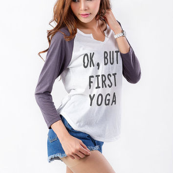 OK but first yoga Funny Sweatshirt Womens Tee Tumblr Sweater Hipster Instagram Teen Fashion Fangirl Gifts Birthday Christmas Bestfriends