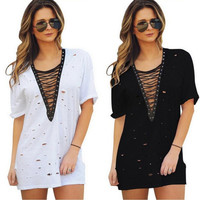 T-shirts Dress Stylish Ripped Holes One Piece Dress [10425667975]