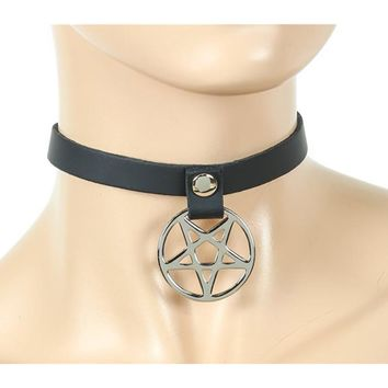 "1/2"" Black Leather Choker Necklace w/ Silver Inverted Pentagram"