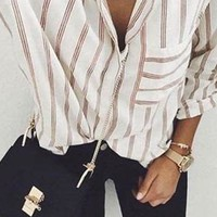 Streetstyle  Casual Casual Fashion Striped Blouse Top