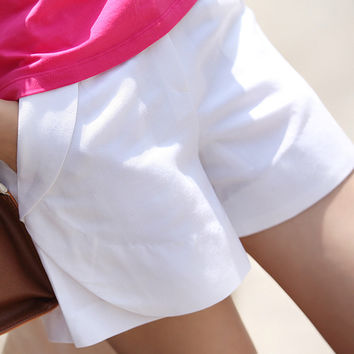 Promotions New Summer  Women White Casual Short Feminino Middle Waist Women's Cotton Linen Shorts Plus Size Free Shipping