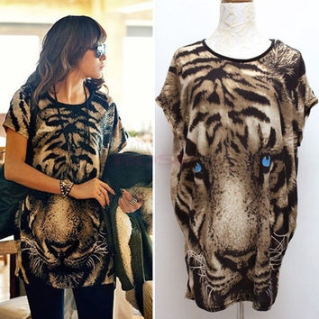 New Fashion Summer Women's Fashion Tiger Printed T-shirt Long Tops Short Sleeve Popular T-Shirt One Size SV001662|40901 (Color: Leopard) = 1956838660