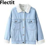 Spring Fur Jean Denim Jacket Winter Blue Women Bomber Jacket Coat with Front Button Flap Pockets 6111101