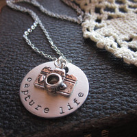 Capture Life - Metal Hand Stamped Pendant Necklace