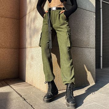 Autumn Women Solid Color High Waist Corduroy Cargo Pants Leisure Pants Trousers