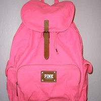 Victoria's Secret Neon PINK School Canvas Handbag Backpack Book Bag Tote