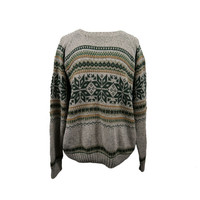 Brown Beige Striped Snowflake Long Oversized Vintage Hipster Tumblr Sweater