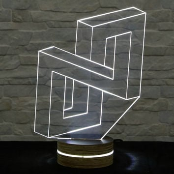 N Shape, 3D LED Lamp, Home Decor, Table Lamp, Desk Lamp, Office Decor, Plexiglass Lamp, Decorative Lamp, Nursery Light, Acrylic Night Light