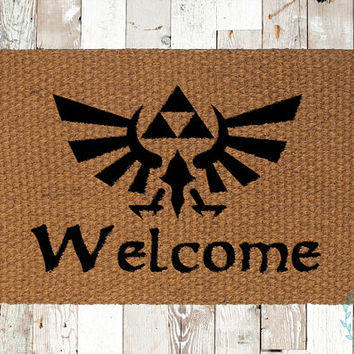 Zelda Triforce Welcome Coir Doormat, Decorative Area Rug, Hand Painted Hand Woven, Housewarming Gift