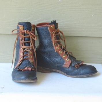 sz  7 B women vintage blue and brown leather logo justin lace up  granny boots