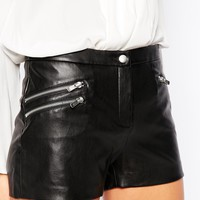Mango Leather Look Zip Detail Short