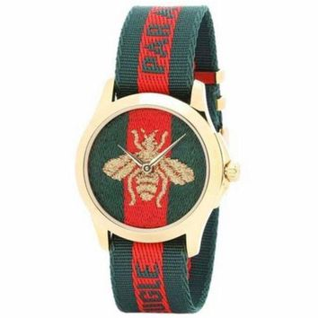 Gotopfashion GUCCI Fashion Women Bee Embroidery Watch Business Watches Wrist Watch I