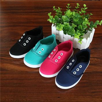 Spring Kids Canvas Shoes Toddler Boys Girls Canvas Sneakers Children Canvas Shoes Girls Flats Slip on Casual Shoes