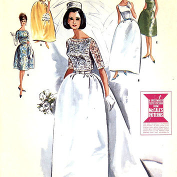 60s Wedding dress bridesmaid dress or grad dress with our without train vintage sewing pattern McCalls 7802 Bust 34 or bust 31