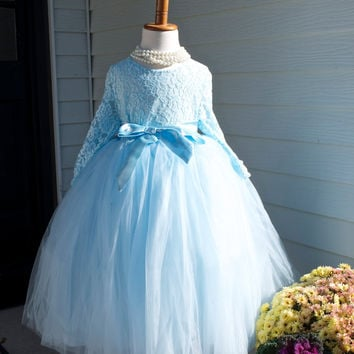 Pastel  Blue Long Tulle Skirt with blouse