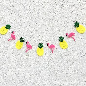 Flamingo Pineapple Party Banner Girls Decoration