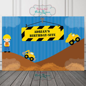 Construction Vinyl Banner / Construction Backdrop / Builder Vinyl Backdrop / Builder Backdrop
