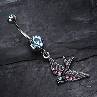 Jeweled Flying Swallow Dangle Belly Ring