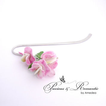 Sweet peas cold porcelain bookmark - silver plated bookmark - handmade clay flowers - sweet pea bookmark