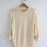 90s light yellow sweater. pale yellow prep sweater. size
