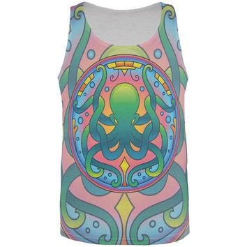 DCCKJY1 Mandala Trippy Stained Glass Octopus All Over Mens Tank Top