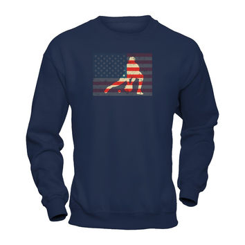 Catcher Baseball American Flag T-shirt