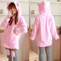 Bear Ear Front Pocket Hooded Top and Paneled Pant Sleepwear