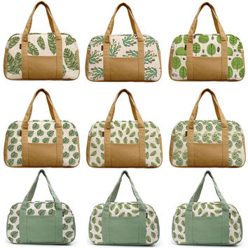 Women's Palm Leaves Patterns Beige Printed Canvas Duffel Travel Bags WAS_19