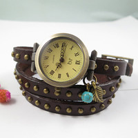 Brown Leather watch,three lap wrist Wrap watch,leaf and Turquoise watch,ladies watch, girls watch, woman watch, girlfriend gift,Bracelet