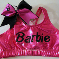 Barbie Pink/Black Metallic Sports Bra and Bow by SparkleBowsCheer