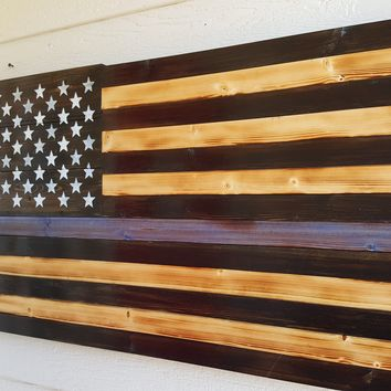 Thin Blue Line Handcrafted Wooden American Flag