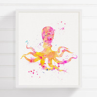 Octopus Painting, Octopus Art, Octopus Print, Baby Girl Nursery, Nautical Wall Decor, Bathroom Decor, Coastal Wall Decor, Kids Room Decor