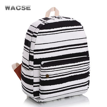 Stylish Stripes Casual Classics Travel Fashion Classic Striped Canvas Backpack = 4887490052