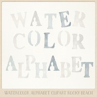Watercolor alphabet clipart (104 pc) beige and greyish blue natural. handpainted clip art letters for design blogs cards printables wall art