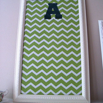 Framed Fabric Cork Bulletin Board - Dorm Room Teen Bedroom Green Chevron Print - Cream Decorative Frame Back to School College Accessories