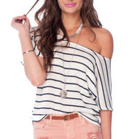 Brandy Striped Knit Top in Ivory and Navy :: tobi