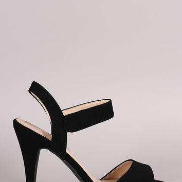 Qupid Ankle Strap Open Toe Heel