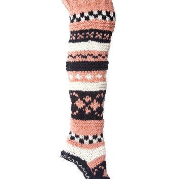 Hand Knit Wool Thigh High Slipper Socks | Tibetan Socks