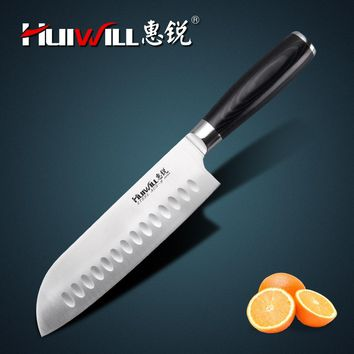 "HUIWILL brand 7""Japanese AUS 8 stainless steel Santoku Knife Chef kitchen knives utility knife kitchenwares"