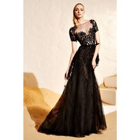 Embellished silk-blend gown